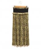 CLANE(クラネ)の古着「タペストリーフラワープリーツスカート」|オリーブ