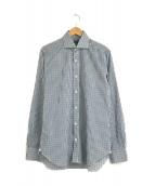 ()の古着「ホリゾンタルカラーギンガムチェックシャツ」 ブルー×ブラック
