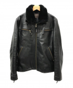 Liugoo Leathers(リューグーレザーズ)の古着「襟ボアホースレザージャケット」 ブラック