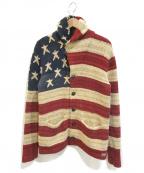 Denim & Supply Ralph Lauren(デニム&サプライ ラルフローレン)の古着「星条旗ショールカラーカーディガン」|ベージュ