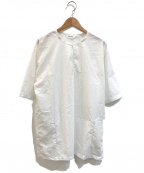 digawel(ディガウェル)の古着「ノーカラープルオーバーシャツ」|ホワイト