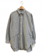 Y's for men(ワイズフォーメン)の古着「[OLD]サイドスリットワイドギンガムチェックシャツ」|ホワイト×ブラック