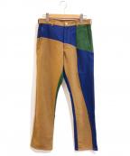 COMME des GARCONS SHIRT(コムデギャルソンシャツ)の古着「パネル切替パッチワークウールパンツ」|マルチカラー