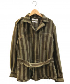 COMME des GARCONS SHIRT(コムデギャルソンシャツ)の古着「ストライプエポーレットジャケット」|カーキ