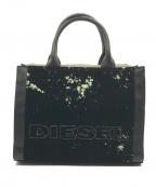 DIESEL(ディーゼル)の古着「フロッキープリント 2WAYトートバッグ M」 ブラック