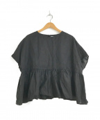 fog linen work(フォグリネンワーク)の古着「リネンフレアワイドブラウス」 ブラック