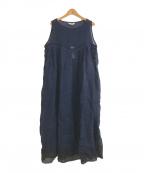 Veritecoeur(ヴェリテクール)の古着「リネン裾配色ノースリーブワンピース」|ネイビー