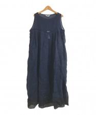 Veritecoeur (ヴェリテクール) リネン裾配色ノースリーブワンピース ネイビー サイズ:FREE