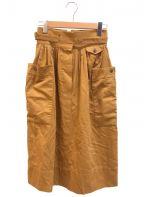 HERMES()の古着「[OLD]ベルテッドスカート」|ブラウン