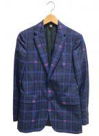 BURBERRY()の古着「ホースアイコンモノグラムチェックジャケット」|ブルー