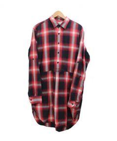 UNUSED(アンユーズド)の古着「Ombre check long Shirts」 レッド