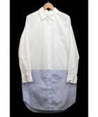 UNITED TOKYO(ユナイテッドトーキョー)の古着「コンビシャツワンピース」 ホワイト×ブルー