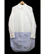 UNITED TOKYO(ユナイテッドトーキョー)の古着「コンビシャツワンピース」|ホワイト×ブルー