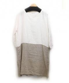 fog linen work(フォグリネンワーク)の古着「切替リネンワンピース」|ホワイト