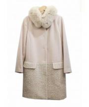 Apuweiser-riche(アプワイザーリッシェ)の古着「アンゴラ混襟ファーコート」 ピンク
