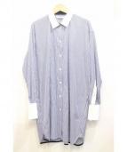 CINOH(チノ)の古着「クレリックシャツワンピース」 ブルー×ホワイト