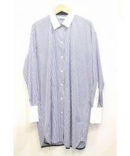 CINOH(チノ)の古着「クレリックシャツワンピース」|ブルー×ホワイト
