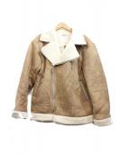 LEGENDA(レジェンダ)の古着「MOUTON風ルーズシルエットダブルライダースジャケット」|ベージュ