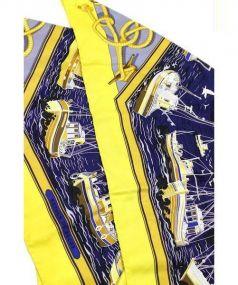 HERMES(エルメス)の古着「大判シルクスカーフ」|ネイビー×イエロー