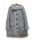 GALLERY VISCONTI(ギャラリービスコンティ)の古着「リボン付メモリーギンガムチェックコート」|ブラック×ホワイト