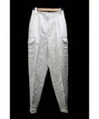 DES PRES(デプレ)の古着「リネンレーヨンハイウエストテーパードパンツ」|シルバー
