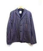 HERVIER PRODUCTIONS(エルヴィエ・プロダクションズ)の古着「ストライプジャケット」|ネイビー
