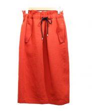 MACPHEE(マカフィー)の古着「ウエストギャザータイトスカート」|レッド