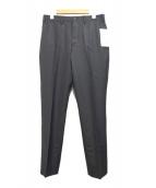 TAKEO KIKUCHI(タケオ キクチ)の古着「シャイニーストライプノータックシングルパンツ」|ブラック
