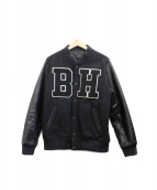 BOUNTY HUNTER(バウンティハンター)の古着「BHロゴレザー切替スタジャン」|ブラック