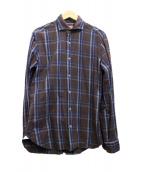 BARBA(バルバ)の古着「ホリゾンタルカラーシャツ」|ブラウン