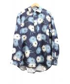 VALENTINO(バレンチノ)の古着「プルオーバーシャツ」 ブルー×ネイビー