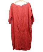 fog linen work(フォグリネンワーク)の古着「リネンサックワンピース」 レッド