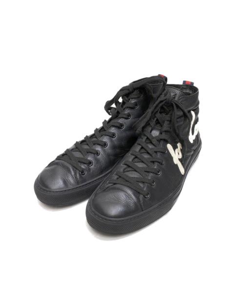GUCCI(グッチ)GUCCI (グッチ) ハイカットスニーカー ブラック サイズ:9 449992の古着・服飾アイテム