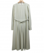 CELFORD(セルフォード)の古着「バックサテンタックプリーツワンピース」|ライトグリーン