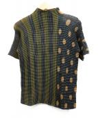 ISSEY MIYAKE(イッセイミヤケ)の古着「プリーツブラウス」|カーキ×ネイビー