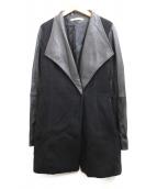 theory luxe(セオリーリュクス)の古着「袖レザー切替コート」|ブラック