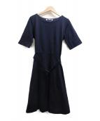 BLUE LABEL CRESTBRIDGE(ブルーレーベルクレストブリッジ)の古着「コンパクトスーピマポンチワンピース」|ネイビー