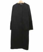SACRA(サクラ)の古着「ベルスリーブノーカラーロングコート」 ブラック