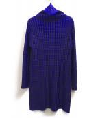 PLEATS PLEASE(プリーツプリーズ)の古着「タートルネックチュニック」 ブルー×ブラック