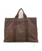 HERMES(エルメス)の古着「ハーフレザートートバッグ」|ブラウン