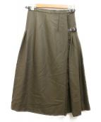 ONEIL OF DUBLIN(オニール オブ ダブリン)の古着「プリーツ切り替えrウールスカート」|カーキ