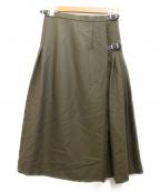 ONEIL OF DUBLIN(オニールオブダブリン)の古着「プリーツ切り替えウールスカート」|カーキ
