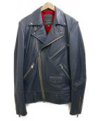 JACKROSE(ジャックローズ)の古着「レザーライダースジャケット」|ネイビー