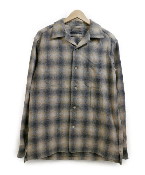 PENDLETON×URBAN RESEACH DOOR(ペンドルトン×アーバンリサーチドア)PENDLETON×URBAN RESEACH DOOR (ペンドルトン×アーバンリサーチドア) オープンカラーシャツ ベージュ×グレー サイズ:38の古着・服飾アイテム