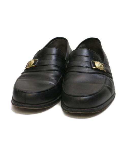 GIANNI VERSACE(ジャンニヴェルサーチ)GIANNI VERSACE (ジャンニヴェルサーチ) ローファー ブラック サイズ:7 1/2 ヴィンテージの古着・服飾アイテム