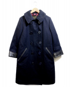 RUMBLE RED(ランブルレッド)の古着「レザー切替Pコート」|ネイビー