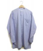 COMOLI(コモリ)の古着「バンドカラーシャツ」 スカイブルー