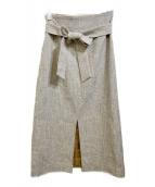 BALLSEY(ボールジィ)の古着「コットンウールツイルベルテッドスカート」|グレー