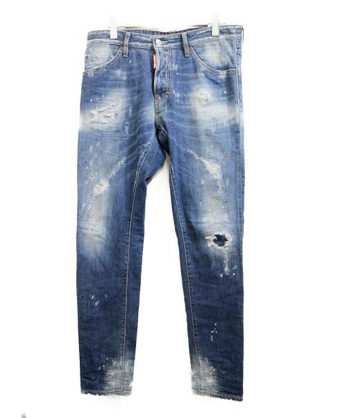DSQUARED2(ディースクエアード)DSQUARED2 (ディースクエアード) ダメージ加工デニムパンツ インディゴ サイズ:48の古着・服飾アイテム