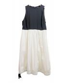 YOKO CHAN(ヨーコチャン)の古着「Gathered Dress」|ブラック×ホワイト